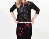 Black | Red Upcycled Rose Floral Pencil Sweater Skirt