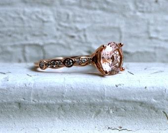 Morganite and Diamond Engagement Ring - 2.23ct.