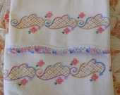 Price Reduced!  Vintage Embroidered and Crochet Pillowcases Pink, Purple, Blue, Green, Yellow