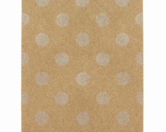 25 Tiny Silver Polka Dot Kraft Paper Bags - 2.75 x 4 inches, Utensil Bag, Favor Bag (Limited Edition)