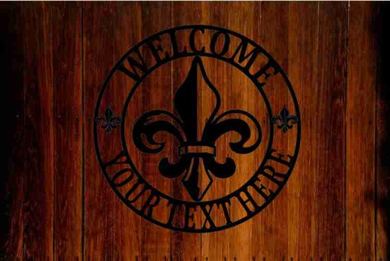 Personalized fleur de lis name metal art sign by Ironbell