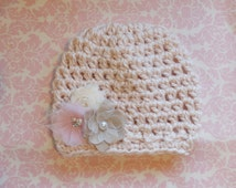 Pale pink loose knit hat with vintage flower cluster/ Newborn hat/ Baby girl hat