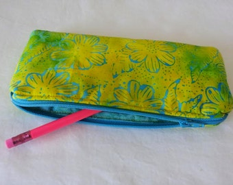 Pencil Case, Coin Purse, Cosmetic, Zipper pouch, makeup pouch, chevron, teal, flower, yellow, batik