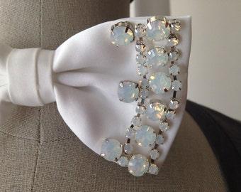 White Opal Embellished Bowtie