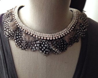 Rhinestone and Feather Collar Necklace