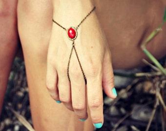 coral red slave bracelet, bracelet ring, ring bracelet, boho bracelet, hipster bracelet, slave ring