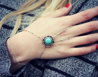 turquoise silver slave bracelet, silver hand chain, bracelet ring, ring bracelet, boho bracelet,  hipster bracelet, slave ring