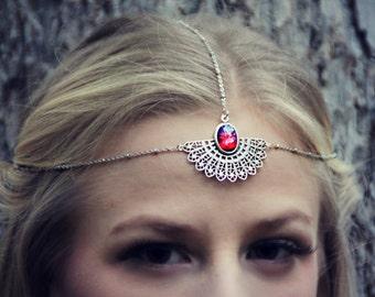mexican opal silver head piece, chain headband, opal headband, metal headband,dragons breath