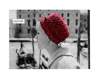 1959 High Crown Popcorn Texture Hat - Crochet pattern PDF 5159
