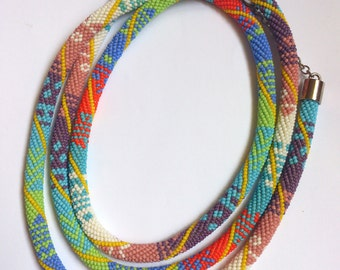 Extra Long Bead Crochet Necklace - Long Summer Beaded Necklace - Handmade Beadwork Necklace - Long Colorful Bead Necklace