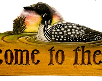 Welcome to the Lake Decorative Wall Sign with Loon