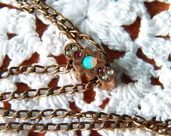 Gorgeous Opal and Garnet Gold Filled Ladies Watch Fob Necklace