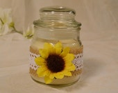 Candle Jar with Burlap, Lace, and a Sunflower, Rustic Wedding Decor, Favor