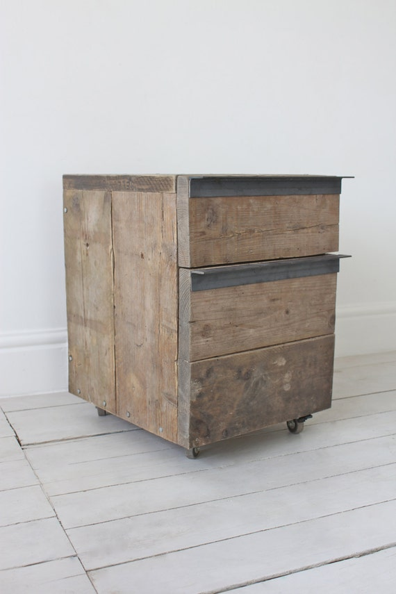 Reclaimed Scaffolding Board Drawer Unit on Castors with Dark Steel Angular Handles - Filing, or Bedside, Cabinet - www.inspiritdeco.com