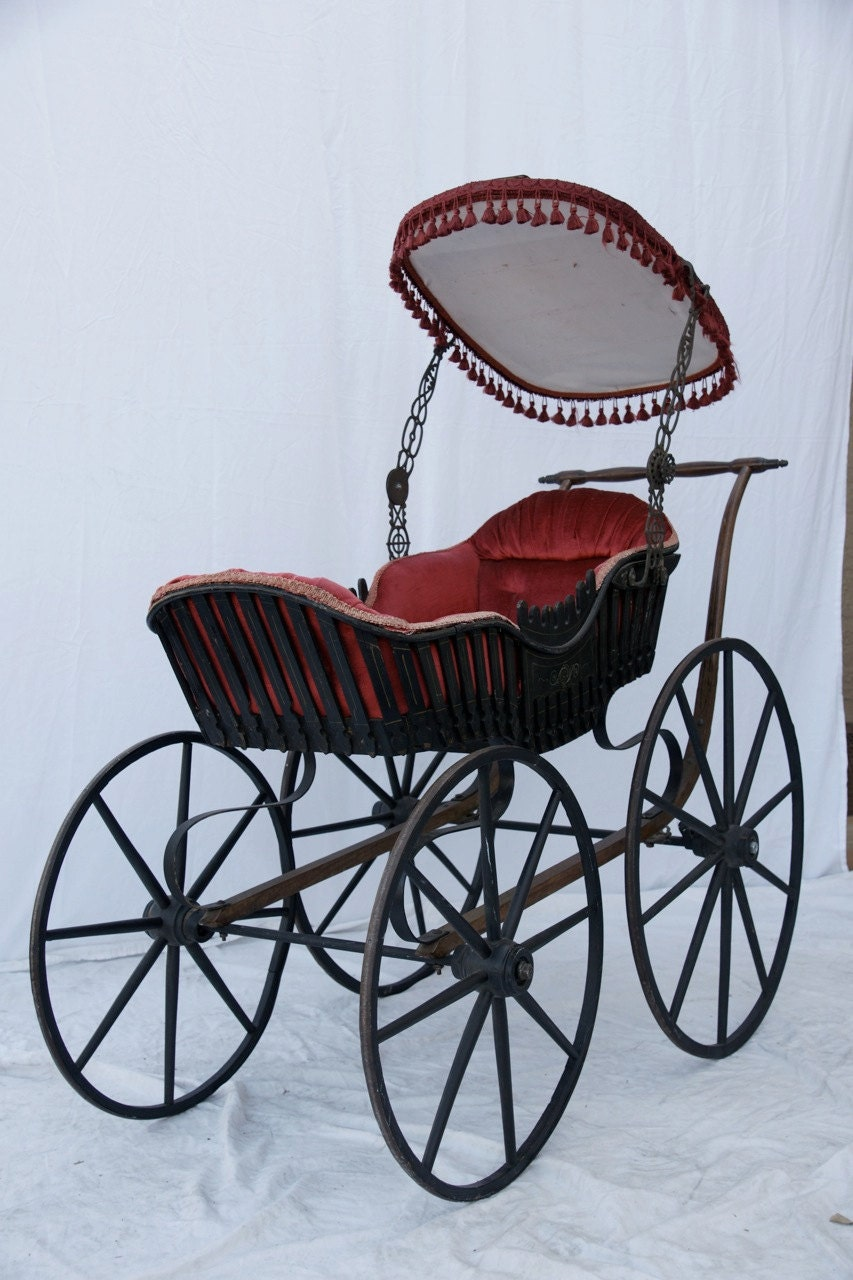 Antique Baby Buggy 1860s Baby Carriage Gothic Steampunk