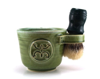 Green Ceramic Shaving Mug with a Frog or Coqui, Taino Themed Handmade Pottery Gift - Brush NOT Included - Made to Order in 6-8 Weeks