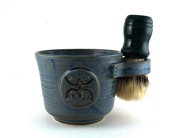 Blue Shaving Mug with a Coqui  or Tree Frog, Shaving Bowl, Shave Cup, Unique Gift for Men by MiriHardyPottery  - Brush NOT Included