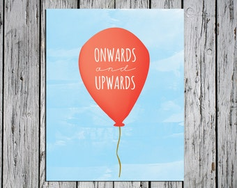 Red Balloon Onwards and Upwards - Digital Download Art Print