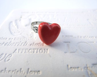 Red heart ring, Valentine's gift for her, cute heart ring
