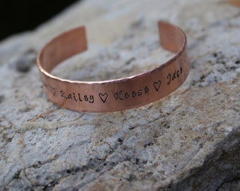 "Copper Handstamped 1/2"" Personalized Cuff Bracelet"