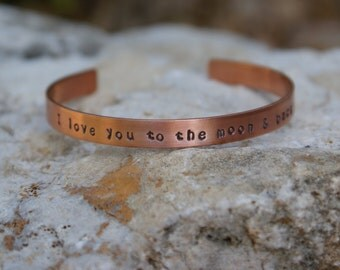 I Love you to the moon & back  handstamped copper cuff bracelet