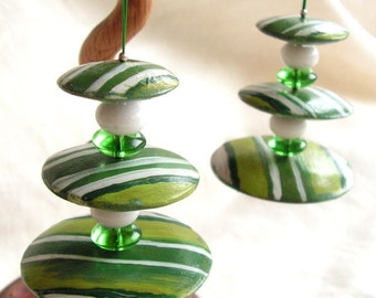 Long green earrings  hand painted wood agate glass silver Circles and Stripes dangle boho