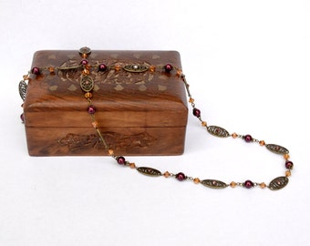 Red bronze goldenrod Swarovski crystal glass pearl long elegant necklace