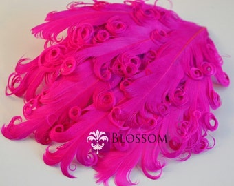 1 Curly Nagorie Feather Pads - Goose Feather Pad - Shocking Pink