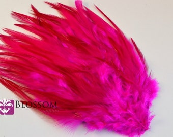 Hot Pink Hackle Feather Pad - DIY Feather Headband Hair Clip Hat Costume Supplies - Wedding Bridal - Rooster Feathers - Wholesale DIY Crafts