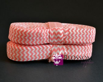 2 or 5 Yard Increments - PINK CHEVRON 5/8 Inch Printed Fold Over Elastic - foe - Salmon Pink - DIY Baby Headband Elastic - Wholesale Crafts