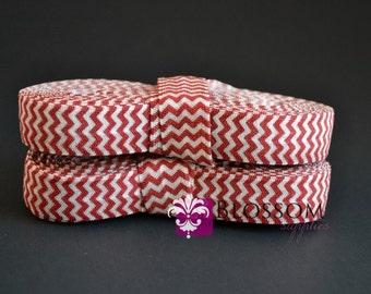 2 or 5 Yard Increments - Dark Red & White Chevron 5/8 Inch Printed Fold Over Elastic - foe - Baby Headband Elastic