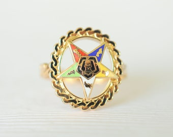 SALE! 1950's vintage / gold filled Masonic ring // Order of the EASTERN STAR