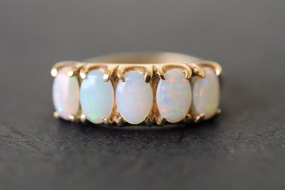 1970's vintage / 5 stone opal 9k gold ring / engagement / October's birthstone