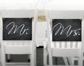 Chalkboard Printable Mr. and Mrs. Wedding Signs: 11 x 8.5 - Instant Download