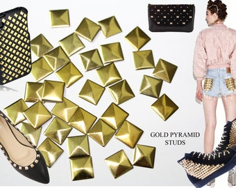 100 Gold Pyramid Square Studs , Iron On Pyramids, Hot Fix Studs, Glue On Cabochons  10 mm   7 mm