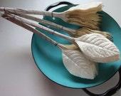 Fall Wire Off White Pearl Leaves 4 bundles / Long stem / Wedding Decor