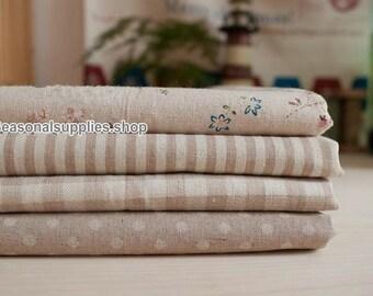 Beige Bundle Fabric Beige Fabric Beige Linen Cotton Fabric Beige Floral Plaid Stripe Dots - Sets for 4 each 33cm x 24cm (QT148-S)
