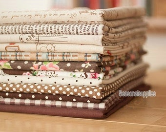 "Cotton Linen Fabric Cloth -DIY Cloth Art Manual Cloth -Brown Series 12Pieces 13x19 Inches "" Each (QT227-M)"