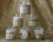 WEEKEND SALE Burlap and lace wedding tea candles, Victorian wedding centerpiece,