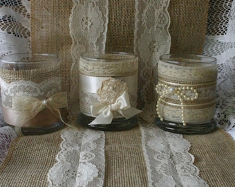 SALE Burlap and lace tea candles holders for weddings