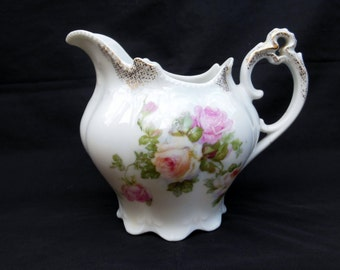 Ornate Austria Creamer with Pink and White Roses Trimmed with Gold