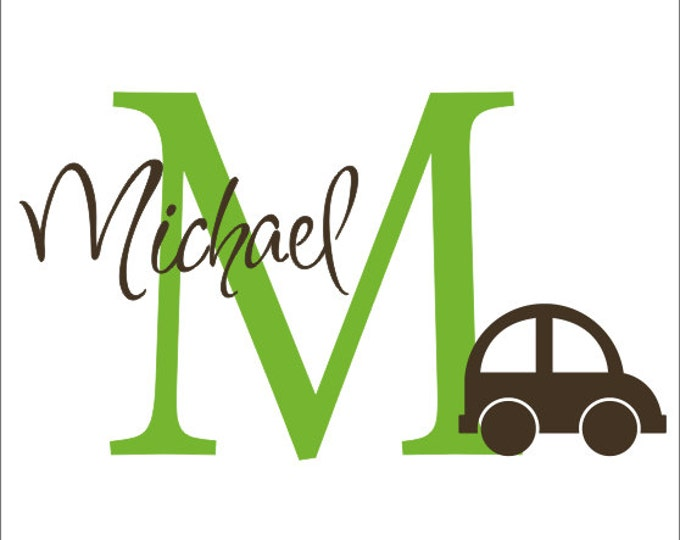 Personalized Car Vinyl Wall Decal Name Initial Custom Car Transportation Vehicle Boy Nursery Bedroom Playroom Housewares Boy