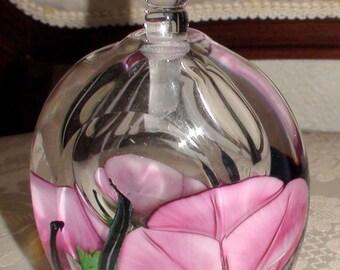 Richard Satava Art Glass Floral Perfume Bottle Pink Flowers