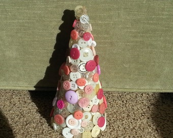 Handmade decorative multi colored pink  white and cream new and vintage button Christmas tree