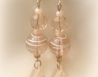 Champagne Acrylic Beaded Earrings