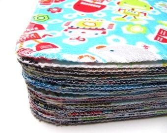 Cloth Wipes, 30 Boys Mixed Prints, Family Cloth, Cloth Diaper Wipes, Reusable Cloth Wipes, Eco Cloth Wipes