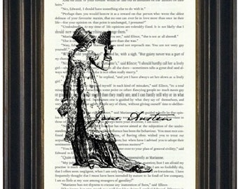 Jane Austen Book Page Print Picture of Jane Austen Fandom Wall Art Austen Fandom Book Wall Art Book Lovers Gift
