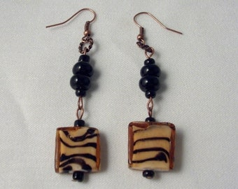 Limited Edition ~Animal print Zebra square link,black onyx and copper Earrings