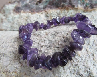 Amethyst Gemstone Stretchy String Bracelet #B4