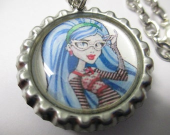 "Handmade ""Girly"" bottle cap pendant necklace with 19"" silver tone chain and lobster clasp closure"